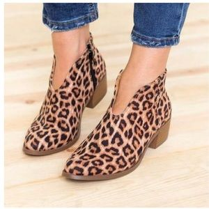 Shoes - Leopard Print Ankle Booties